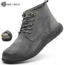 Мужские рабочие ботинки; коллекция года; модные уличные ботинки из коровьей кожи со стальным носком; мужские Нескользящие ботинки с прокалыванием