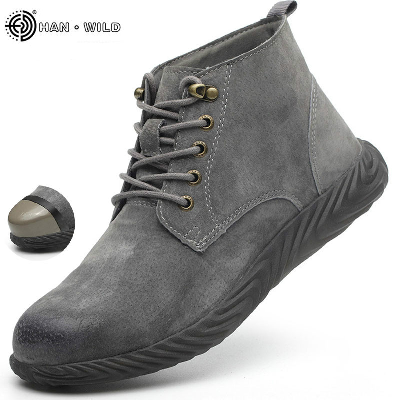 Mens Work Boots 2019 Fashion Outdoor Steel Toe Cow Leather Steel Toe Shoes Men Anti Slip Puncture Proof Safety Shoes Boot Man