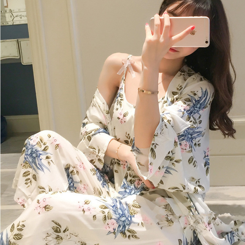 Pajamas Three-piece Set Women's Summer Long-sleeve Suit Thin Spring And Autumn Japanese Style Sexy Nightgown Camisole Kimono Hom