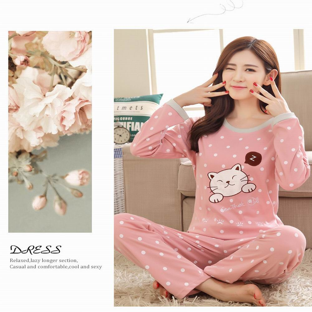 DANALA 2019 New Women's Cute Cartoon Pajamas Set Long Sleeve Tops And Loose Pants Sets Cat Pattern Girls Sleepwear Home Service