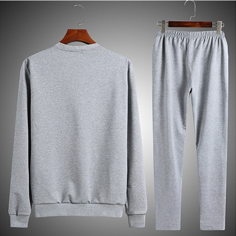Men's Solid Color Fitness Set Pants Long Sleeve Sports Two-piece Clothing Training Running Clothes Sport Suit