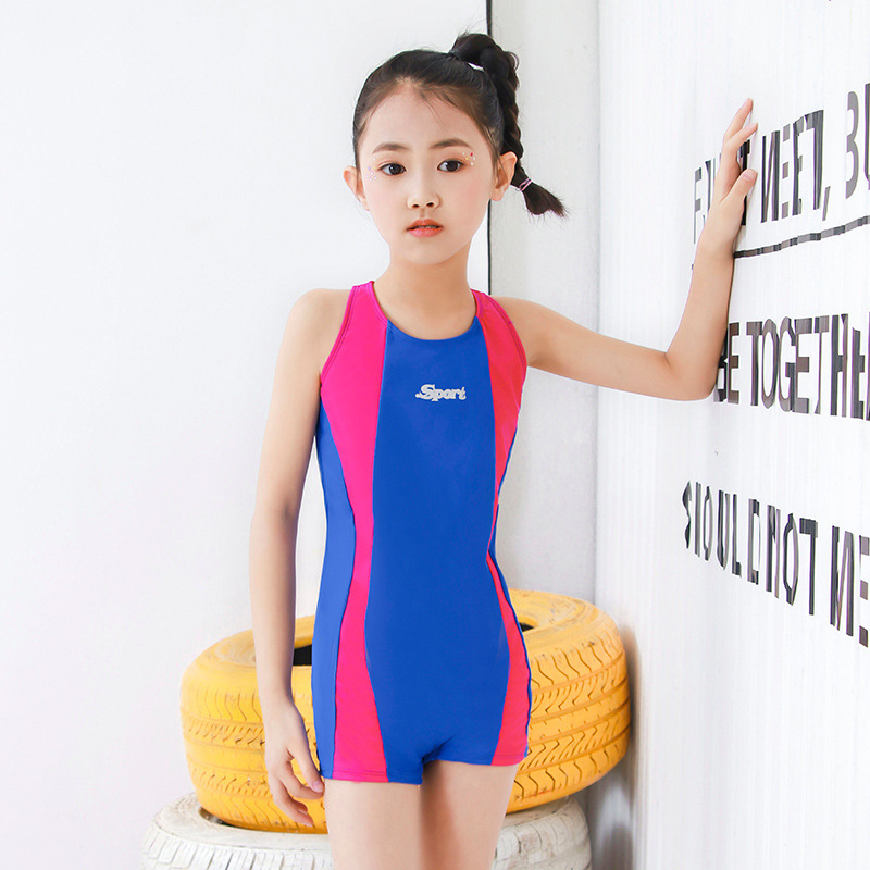 New Style Students Swimming Training Game Amazon Hot Selling Bathing Suit Girls Long Legs Boxer New Style Big Boy Swimwear