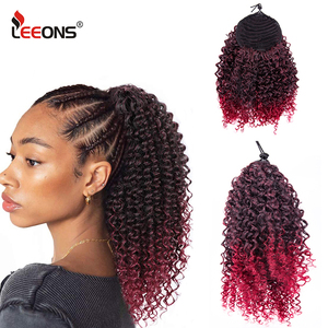 Leeons 2020 New Afro Kinky Drawstring Ponytail Afro Puff Drawstring Ponytail Curly Synthetic Clip In Pony Tail Hair Extensions