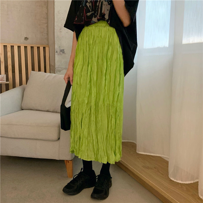 Alien Kitty Hot Selling Fluorescent Green Pleated Brief Elastic Waist Fresh Solid Straight High Waist Streetwear Long Skirts
