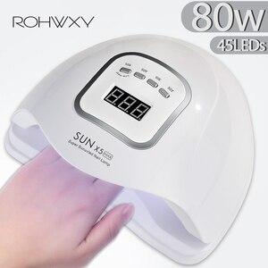 Image 1 - ROHWXY UV LED נייל מנורת מניקור 80W נייל מייבש עבור כל הציפורניים ג ל פולני קרח מנורת עם LCD תצוגה עבור מקצועי נייל אמנות כלי