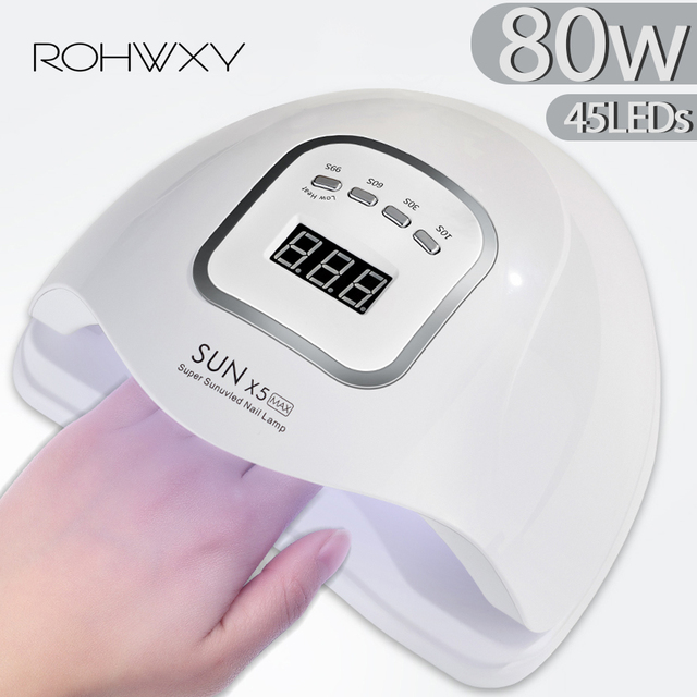 ROHWXY UV LED נייל מנורת מניקור 80W נייל מייבש עבור כל הציפורניים ג ל פולני קרח מנורת עם LCD תצוגה עבור מקצועי נייל אמנות כלי