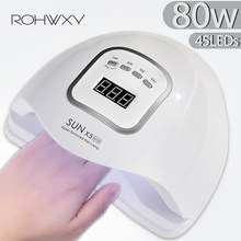 ROHWXY UV LED Nail Lamp Manicure 80W Nail Dryer For All Nail Gel Polish Ice Lamp With LCD Display For Professional Nail Art Tool