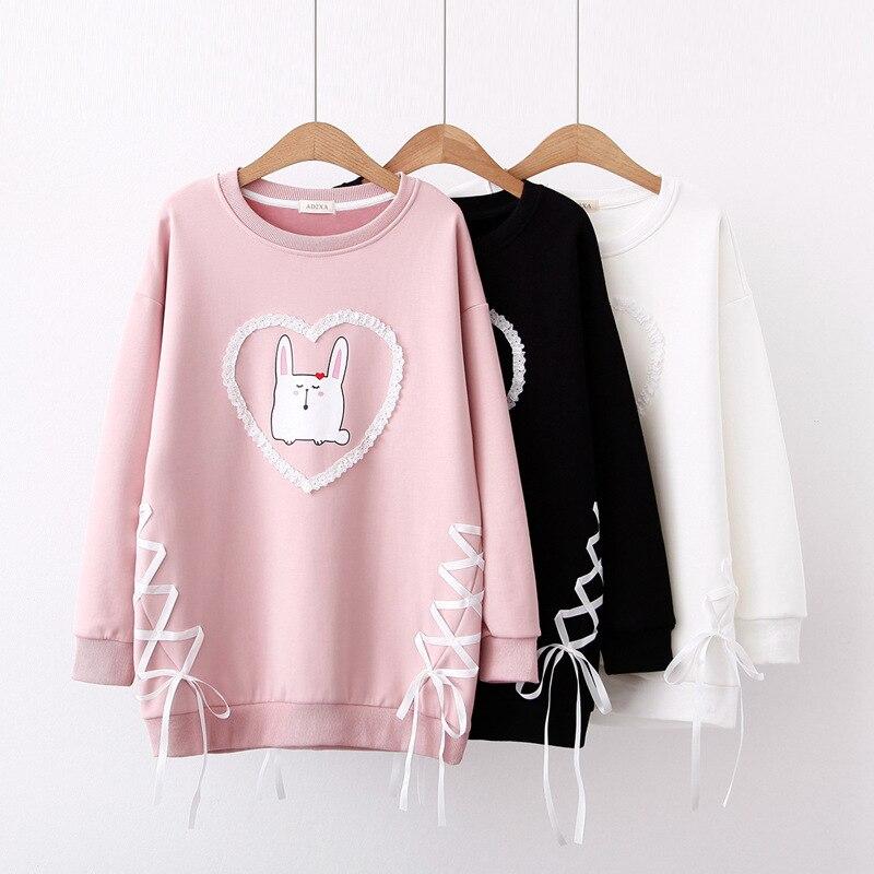 Autumn Korea Kawaii Cotton Fleece O neck Women Teens Girl Harajuku Pink Bunny Cartoon Printed Full sleeve Pullover with Ribbon