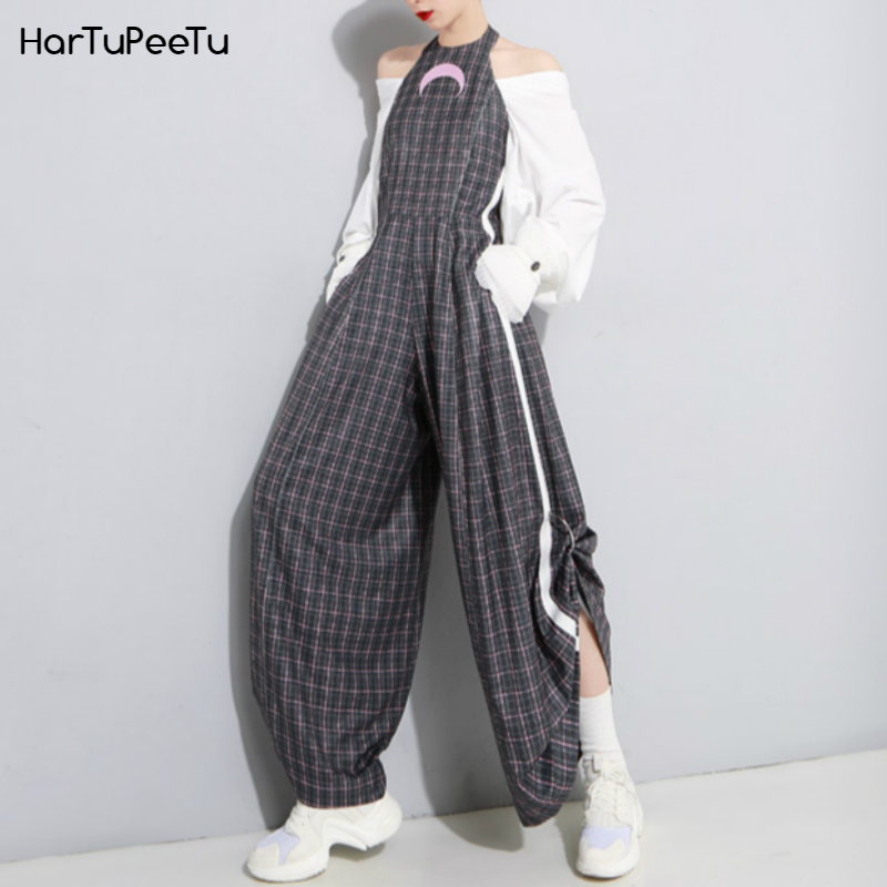 Women Sexy Backless Jumpsuit Harajuku Style Moon Embroidered Hit White Edge Ring Pleated Wide Leg Bodysuit Couplet Pants Summer