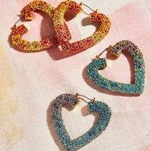 Dvacaman Hollow Heart Love Crystal Earrings for Women Wedding Bohemian Colorful Rhinestone Statement Wholesale Jewelry