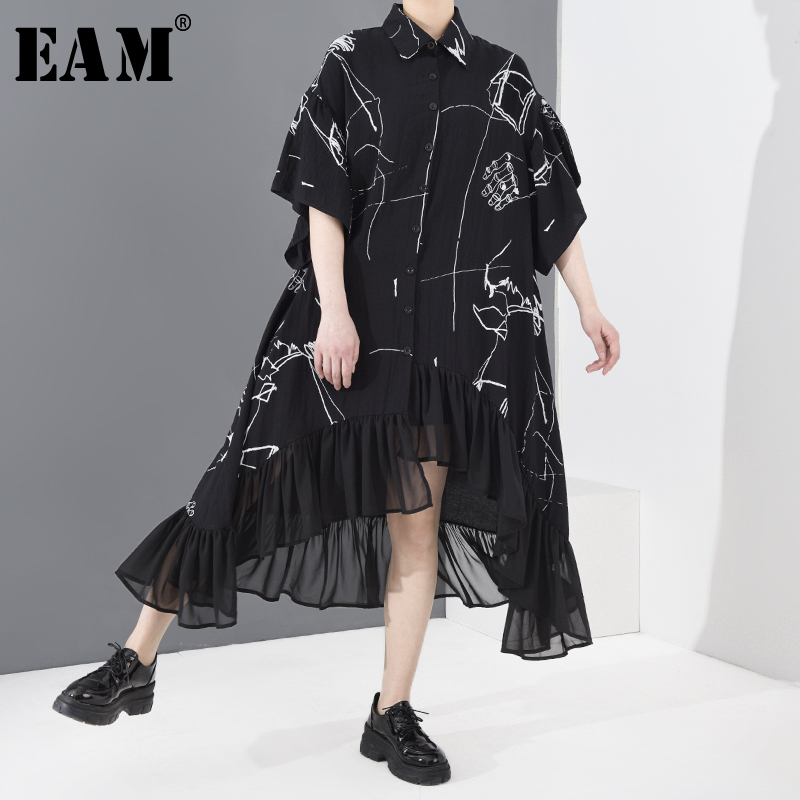 [EAM] Women Pattern Printed Asymmetrical Chiffon Big Size Dress New Lapel Half Sleeve Loose Fashion Spring Summer 2020 1T42901