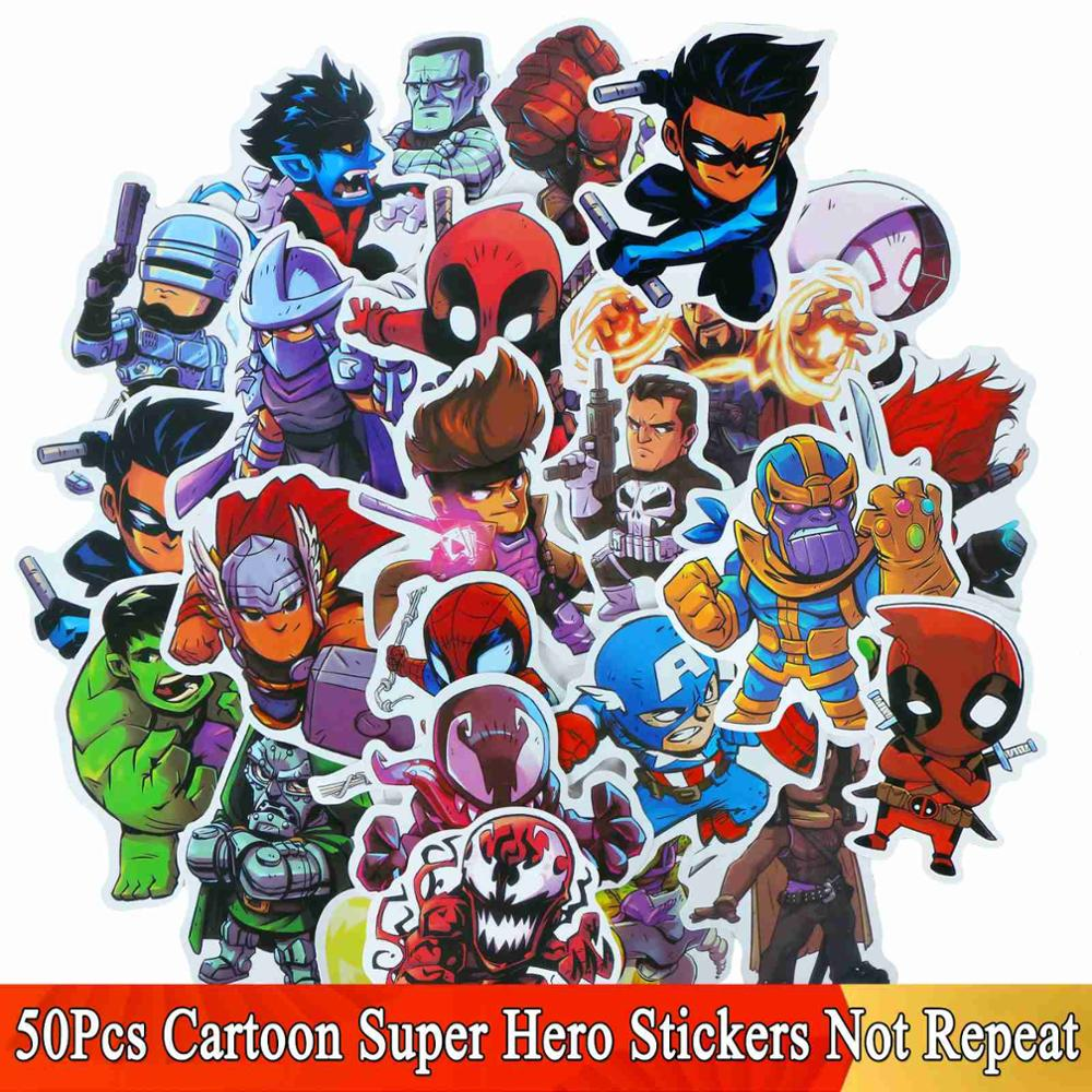 50 Pcs/Lot Cartoon Super Hero Stickers JDM Graffiti Sticker For Laptop Moto Skateboard Luggage Guitar Furnitur Decal