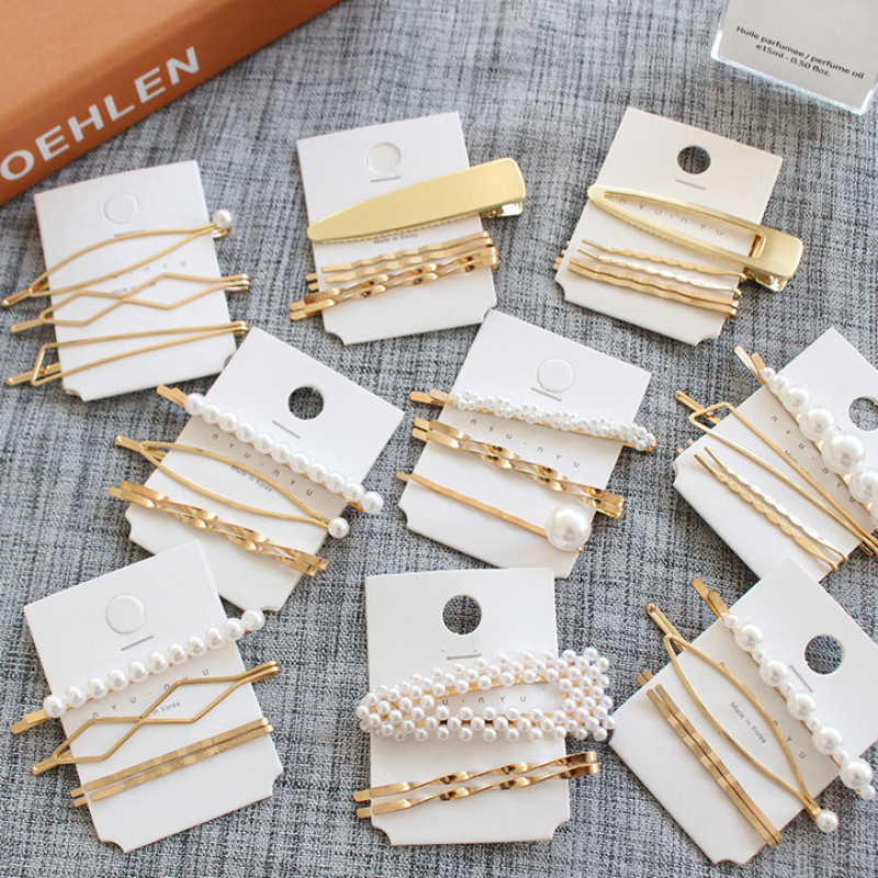 Hot Fashion 1 Set Elegant Pearl Trendy Metal Hair Clips For Women Girls Hair Accessories Geometric Hollow Hairpins Barrettes
