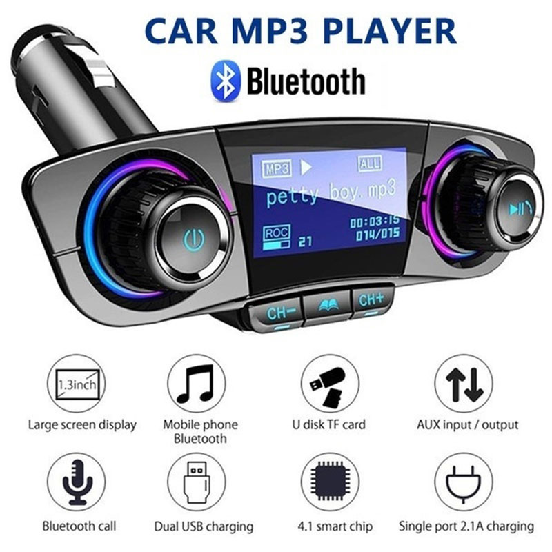 Wireless Bluetooth 5.0 FM Transmitter Modulator Handsfree Car Kit TF USB Music AUX Audio Power ON OFF MP3 Player
