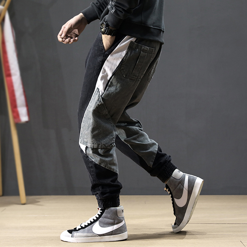 Fashion Streetwear Men Jeans Loose Fit Spliced Designer Cargo Pants Elastic Waist Harem Jeans Korean Hip Hop Jeans Men Joggers