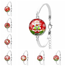 2019 Best Selling The Latest Christmas Cartoon Santa Claus Series Glass Convex Fashion Ladies Bracelet Jewelry Gift
