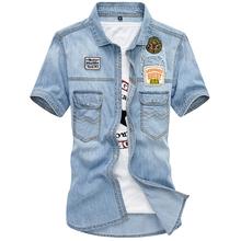 Męskie niebieskie jeansowe koszule nowe letnie cienka z krótkim rękawem Jean koszule dobrej jakości męskie bawełniane koszule na co dzień kowbojskie koszule tanie tanio NEGIZBER COTTON Skręcić w dół kołnierz Pojedyncze piersi REGULAR Suknem List