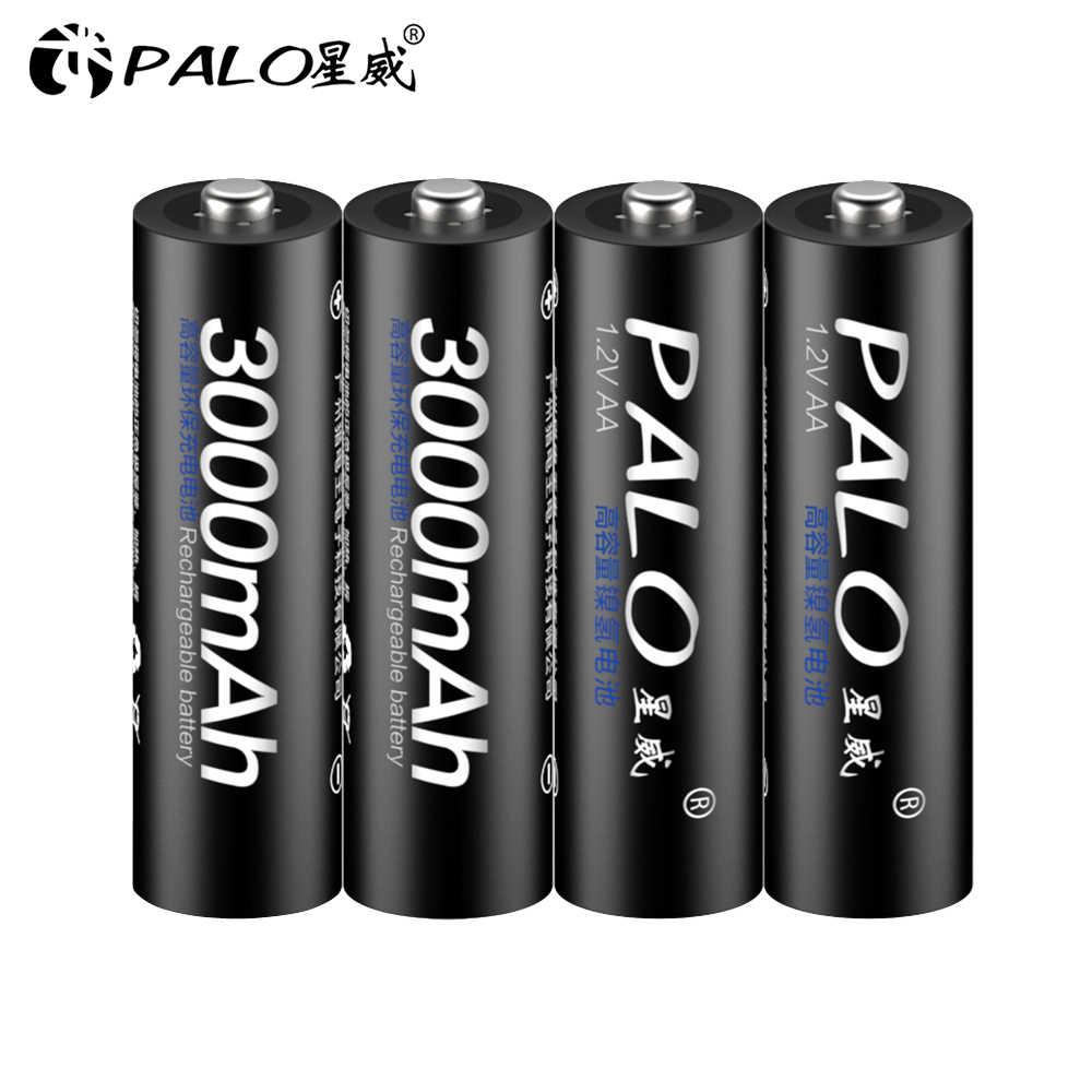 4Pcs AA סוללה נטענת סוללות 1.2V AA 3000mAh Ni-MH נטענת טעונה מראש 2A Baterias עבור מצלמה פנס