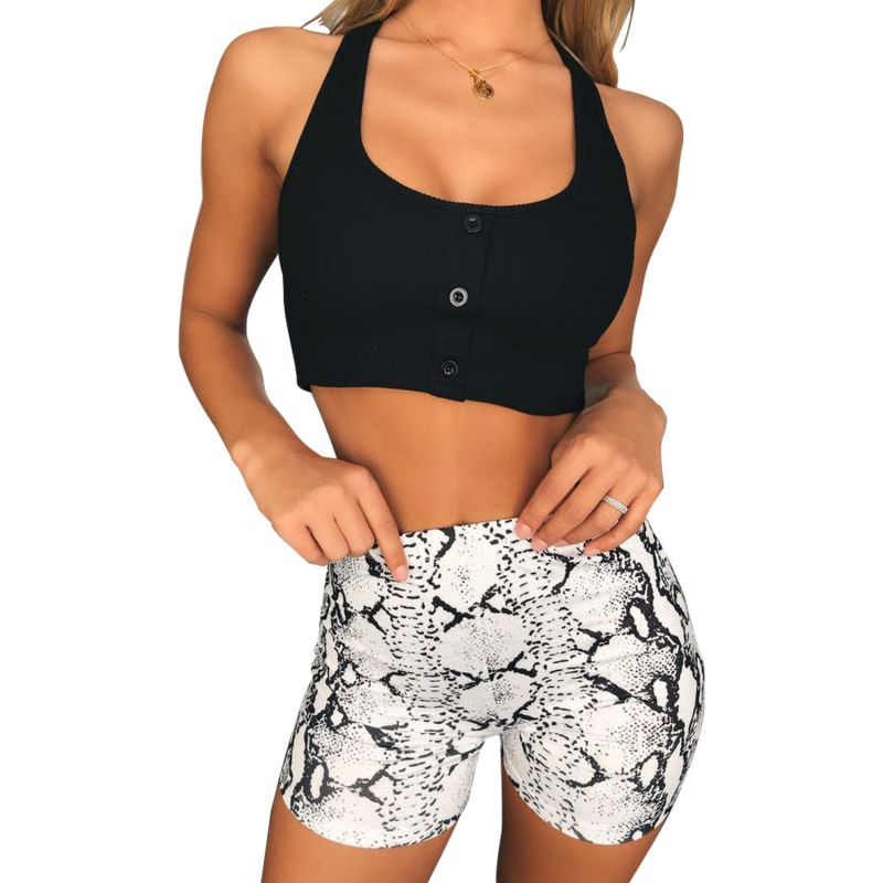 Women Summer Casual Bodycon Shorts Sexy Snake Print Shorts Female High Waist Short Pants