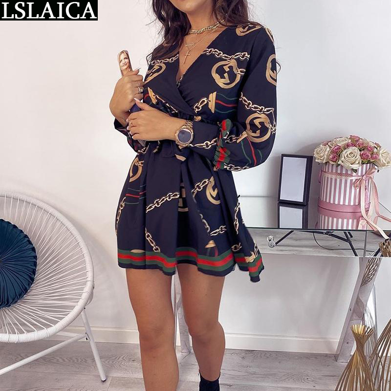 Dresses for women long sleeve Deep V neck Baroque print bandage slim sexy A line office lady mini dodycon summer dress|Dresses| - AliExpress