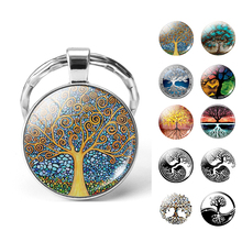 Tree of Life Key Chain Retro Handmade Art Print Glass Dome Keychain Keyring Jewelry Christmas Gifts