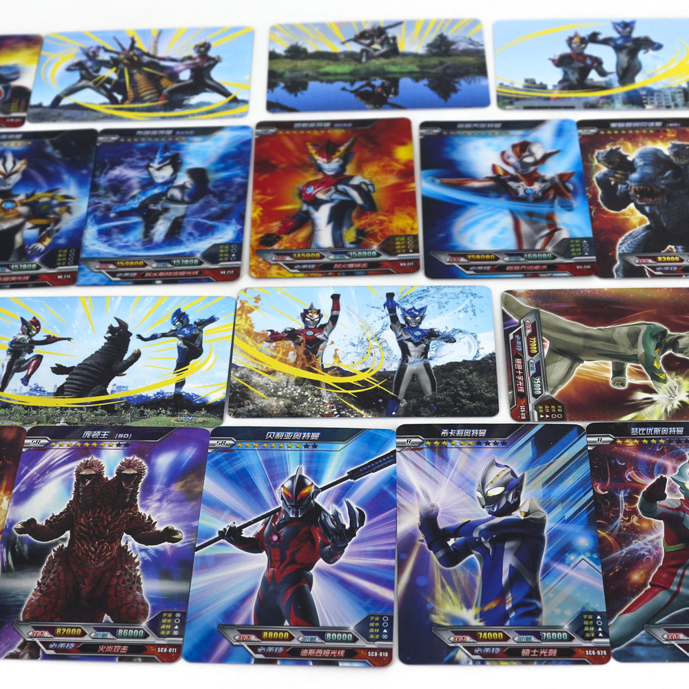 Hot Ultraman Kaiju Shining Card Board Game 23 Flash Cards Collection 6 Real 3D Card Toys For Kids