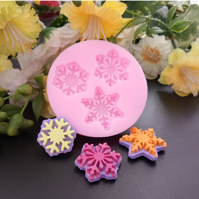 3D Christmas Snowflake Flower Silicone Soap Molds Bakeware Mold For Cupcake Chocolate Soap 3D Fondant Cake Decoration Tools