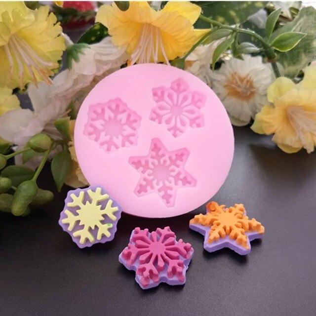 3D عيد الميلاد ندفة الثلج زهرة سيليكون الصابون قوالب خبز قالب ل كب كيك الشوكولاته الصابون 3D فندان تزيين الكيك أدوات