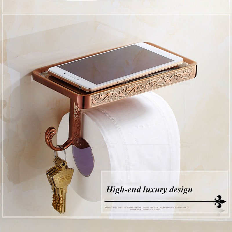 Bathroom Shelves Antique Bronze Carving Toilet Roll Paper Rack With Phone Shelf Wall Mounted Bathroom Paper Holder