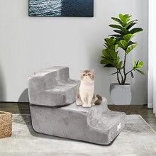 1 шт лестница для животных губка высокой плотности для домашних животных моющееся покрытие из микрофибры нескользящее дно 4 ступени для собак для старых домашних животных