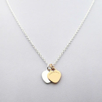 Sterling silver 925 classic fashion rose gold heart silver heart double heart pendant ladies necklace jewelry