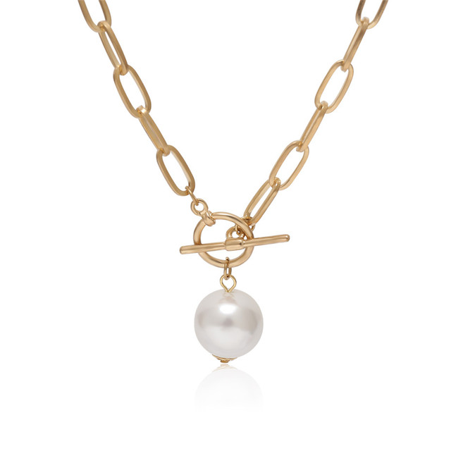 lovely rectangle chain with pearl drop necklace 5