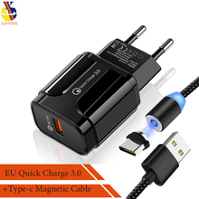 Magnetic USB Cable with 18W Quick Charge 3.0 Fast Mobile Phone Charger EU Plug Wall Adapter for iPhone Samsung