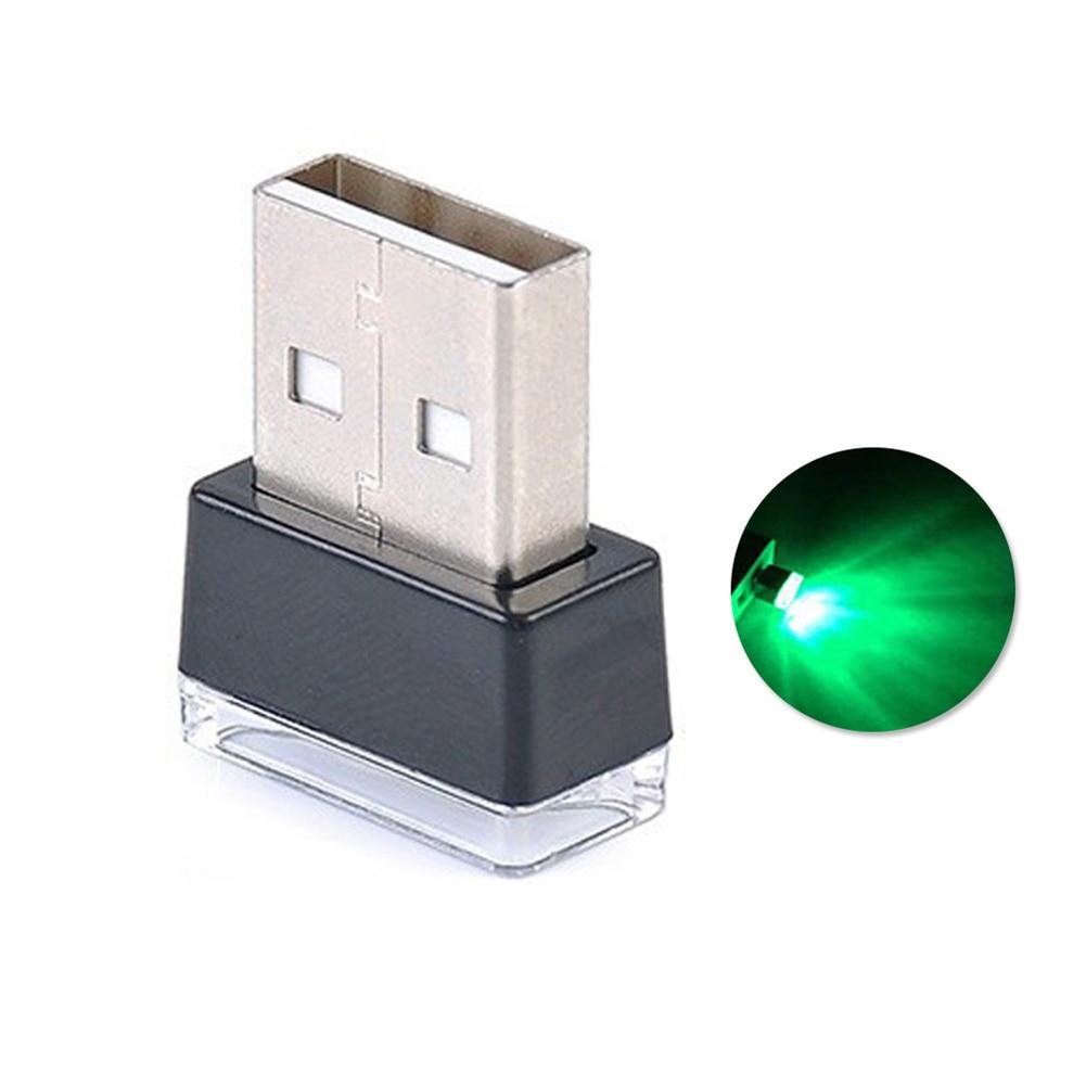Портативный USB СВЕТОДИОДНЫЙ ночной Светильник для салона автомобиля с внешней атмосферой, декоративная лампа - Название цвета: Зеленый