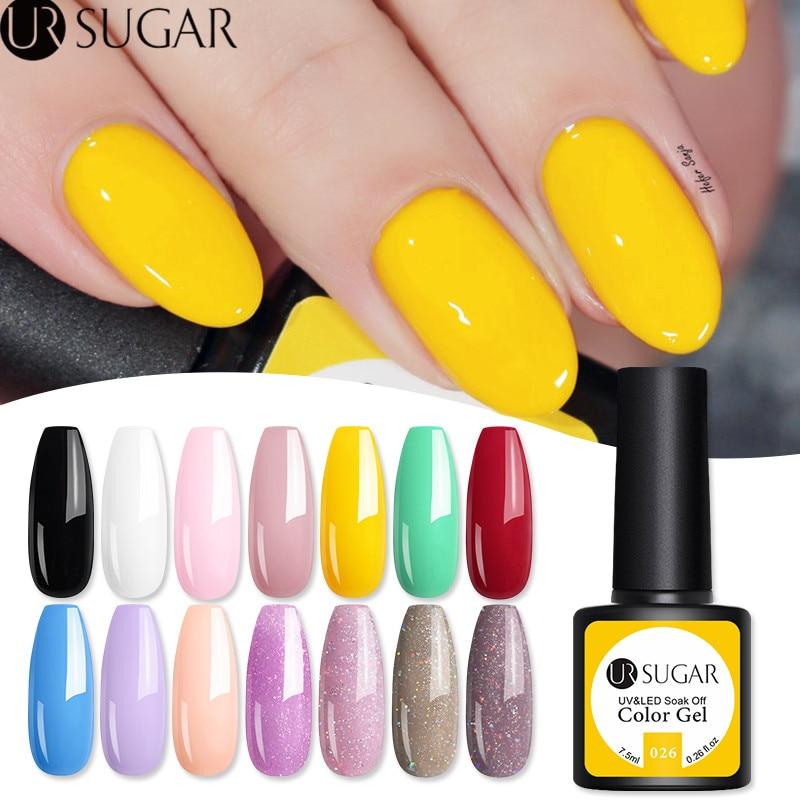 UR SUGAR 7.5ml Yellow Series Gel Nail Polish  Nail Color Soak Off UV Gel Varnish Semi-Permanent Nail Art Varnish LED Gel DIY
