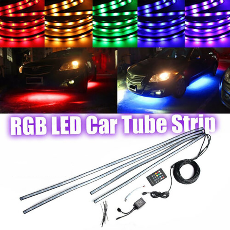 4pcs RGB 8 Color LED Strip Under Car Tube Underbody Underglow Glow Neon image