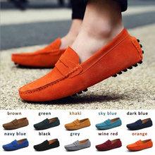 Nova moda masculina sapatos casuais marca de couro mocassins deslizamento em apartamentos masculinos sapatos de condução tênis