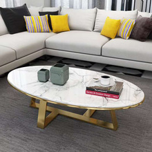 Nordic marble coffee table modern minimalist small living room coffee table oval shape model room simple coffee table