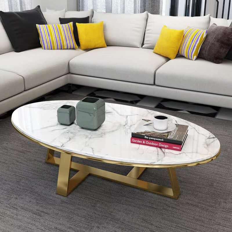 Mobilya'ten Kahve Sehpaları'de Iskandinav mermer sehpa modern minimalist küçük oturma odası kahve sehpası oval şekil modeli odası basit sehpa title=