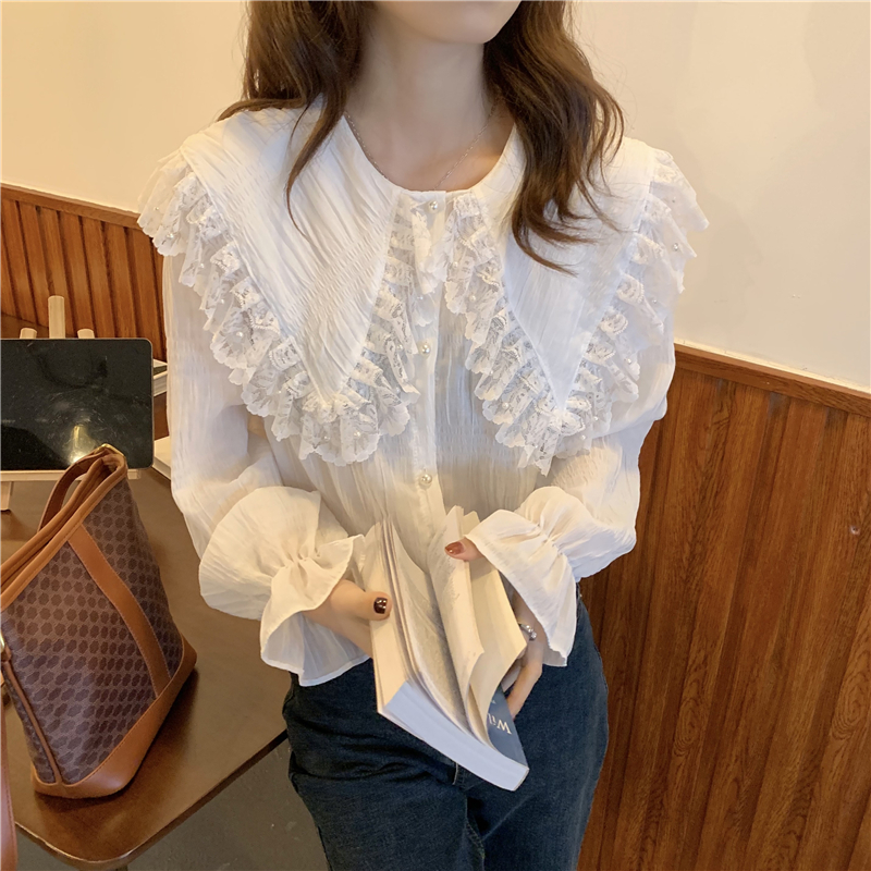 H6f79df5c721046a296617bd7dc20778eO - Spring / Autumn Butterfly Lace Collar Long Sleeves Loose Solid Blouse