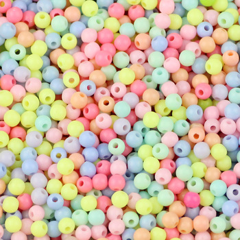 JHNBY Cream beads High quality Acrylic beads 1000pcs 4MM Round Candy Neon smooth Loose beads ball Jewelry bracelet making DIY 1