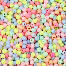 Jhnby pulseira de creme, de alta qualidade, acrílico, 1000 peças, 4mm, redonda, de neon, solta, de bolas, joia fazer diy