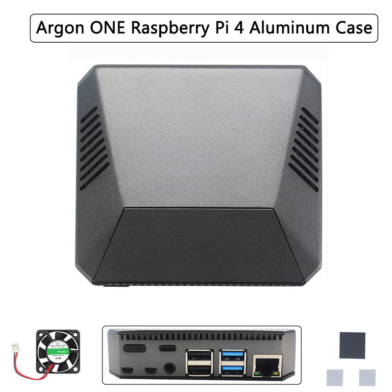Raspberry Pi 4 Aluminum Case Metal ABS Shell Box With Fan Heatsink Power Switch Removable GPIO Cover For Raspberry Pi 4 Model B