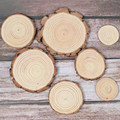 3-12cm Thick Unfinished Natural Pine Round Wood Slices Circles With Tree Bark Log Discs DIY Crafts Wedding Party Painting Decor