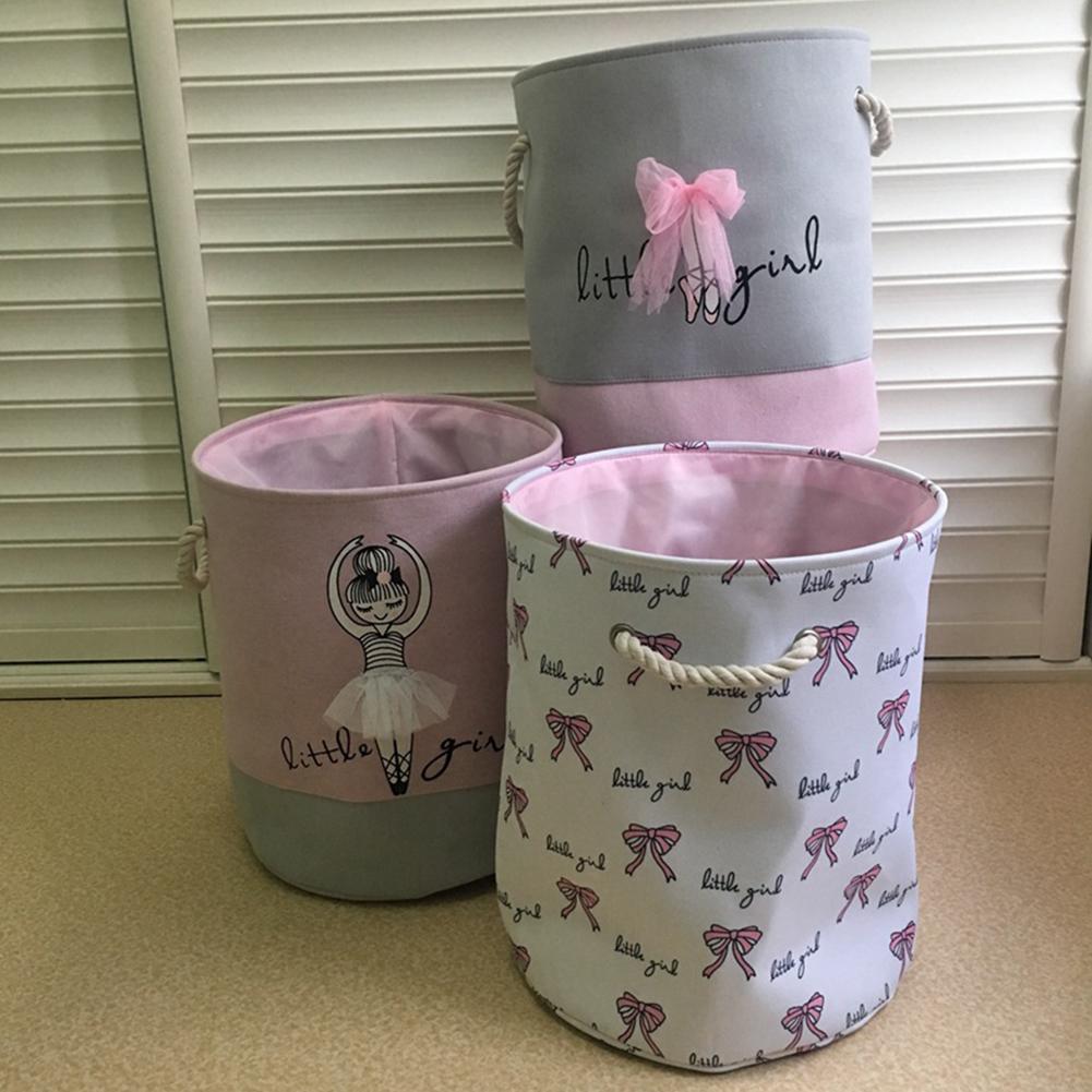 Foldable Laundry Basket Organizer Ballet Girl Bowknot Print Clothes Toys Baskets Bag Home Storage Bag Home Storage Organizer