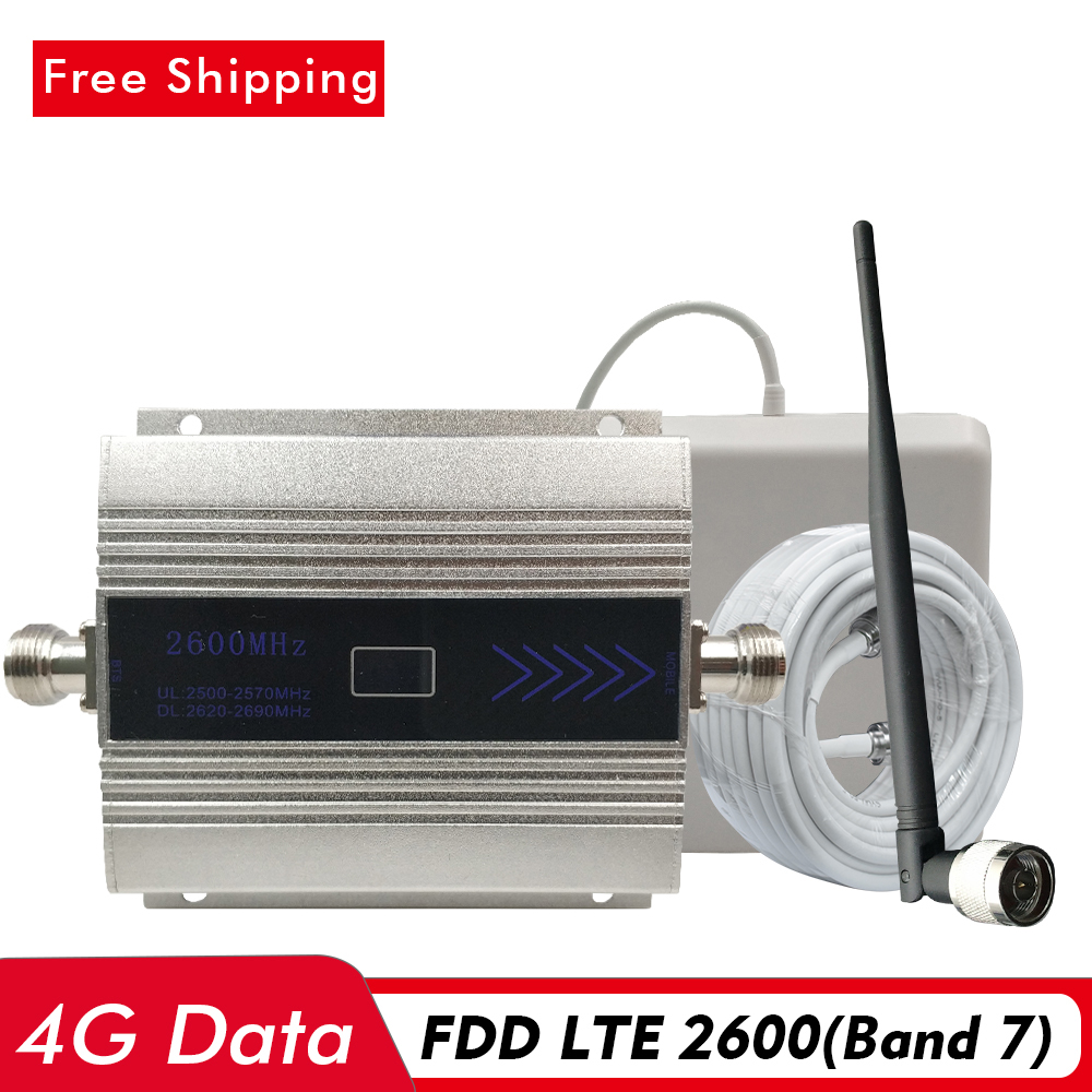 4G Signal Repeater FDD LTE 2600(Band 7) Cell Phone Signal Booster 4G Network Data LTE 2600 Mobile Signal Amplifier Kits Set #13M