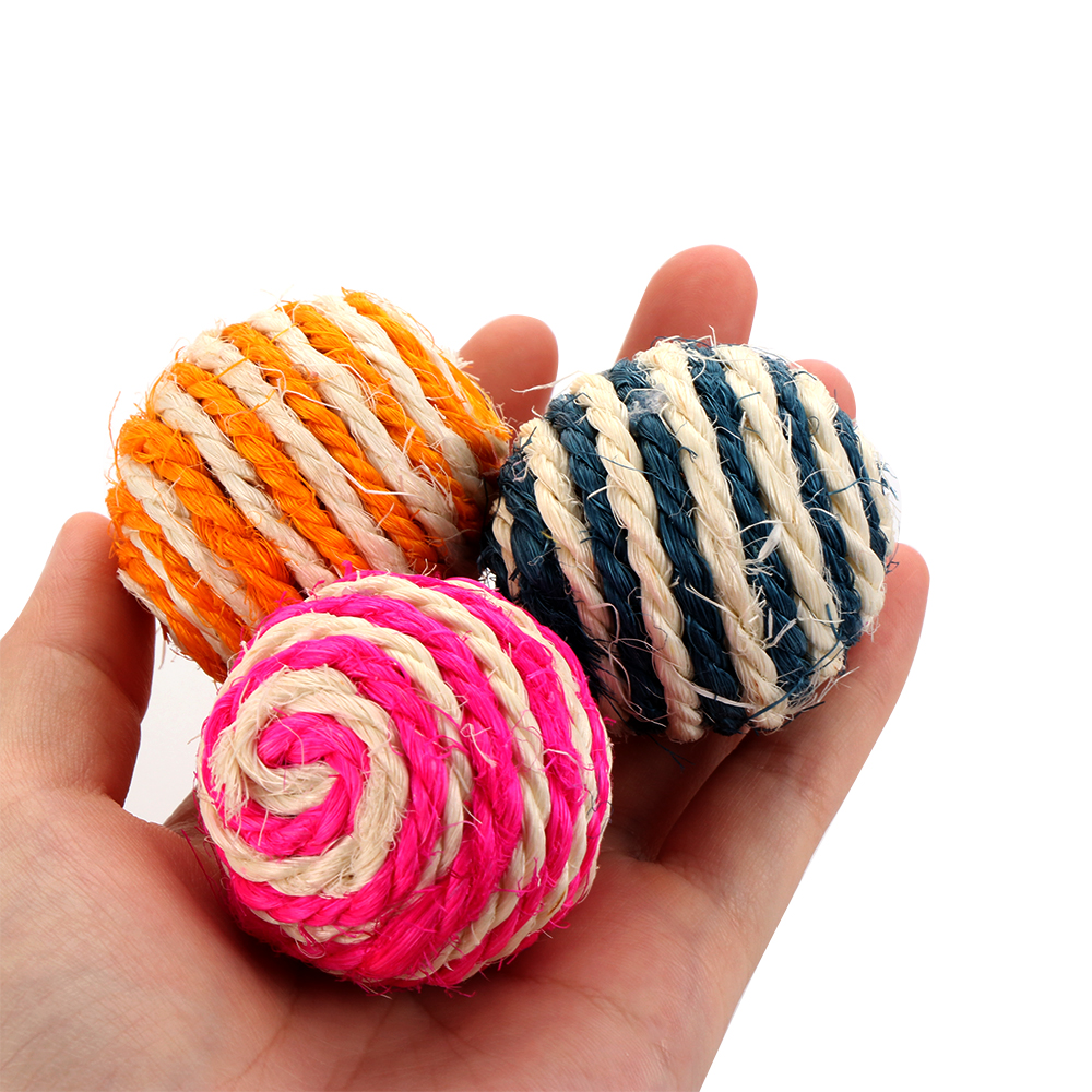 Random Color Interactive Straw Sisal Rope Weave Ball Teaser Balls Cat Play Chewing Toy Grinding Teeth Tools Dog Home Pet Supply|Cat Toys|   - AliExpress