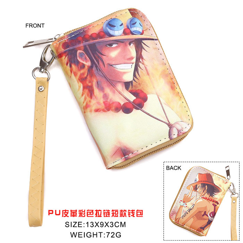 Anime One Piece PU Short Wallet Portgas D Ace monedero