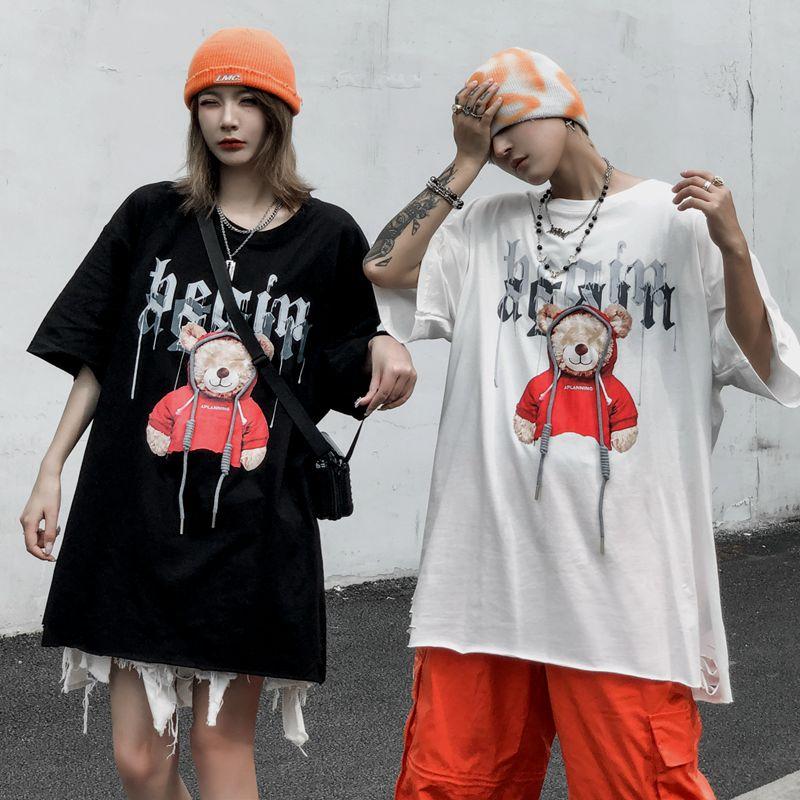 Women Casual TShirt Anime Sweet Cartoon Funny Bear Print Streetwear Female Tops Tee Short Sleeve Fashion T Shirt Hip Hop Clothes