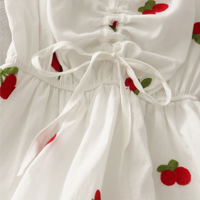 Strawberry Dress Kawaii Embroidery Puff Sleeve Dress Women Vintage A-line White Square Neck Beach Dresses 2021 Korean Clothes 6